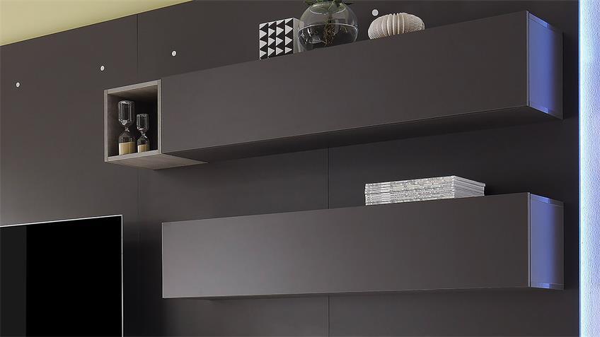 Wohnwand CUBE 2 Kombi 2 in dunkel grau matt Eiche
