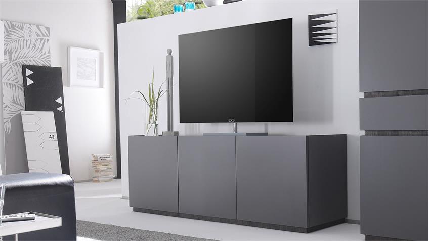 Sideboard REX TV-Board Fernsehschrank anthrazit matt Lack und Wenge