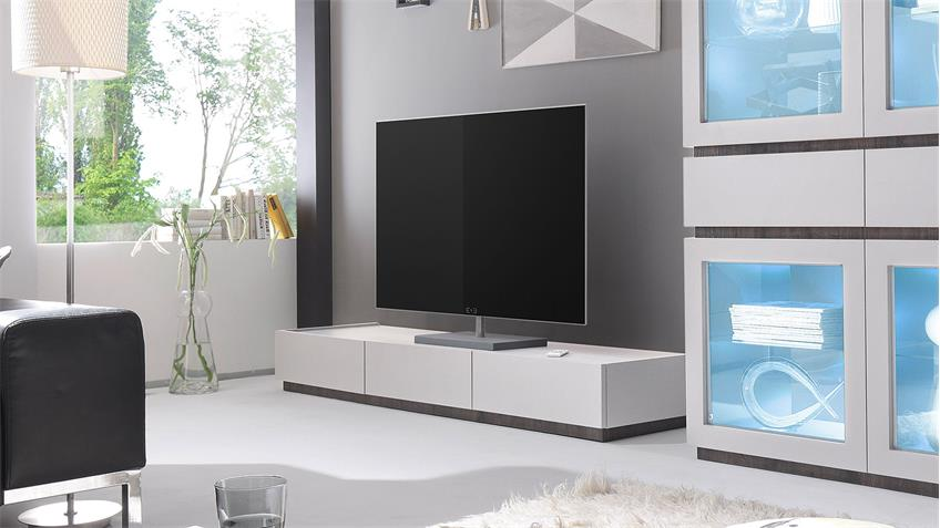 tv board rex lowboard fernsehschrank in wei matt lack und wenge. Black Bedroom Furniture Sets. Home Design Ideas