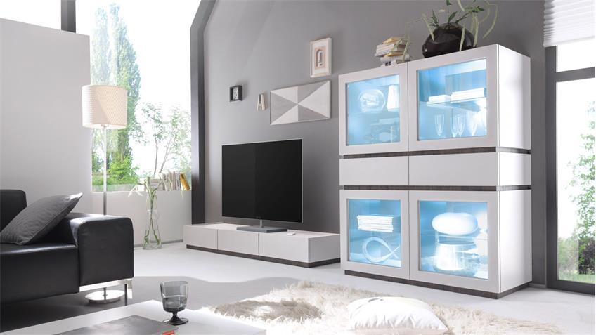 TV-Board REX Lowboard Fernsehschrank in weiß matt Lack und Wenge
