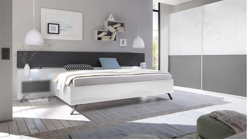 Bett MATCHS Schlafzimmerbett weiß Hochglanz anthrazit matt Lack