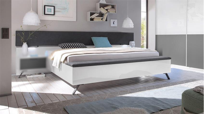 Bett MATCHS Schlafzimmbett mit Bank weiß Hochglanz anthrazit matt Lack