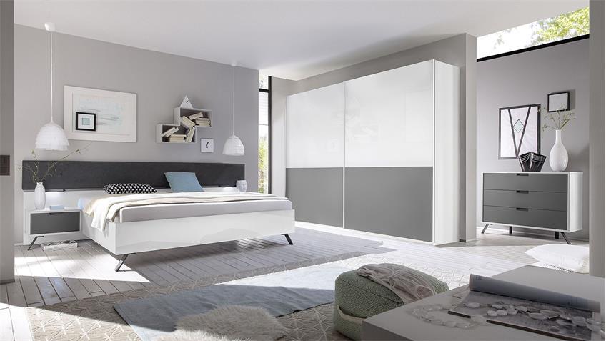 Kommode MATCHS Sideboard in weiß Hochglanz und anthrazit matt Lack