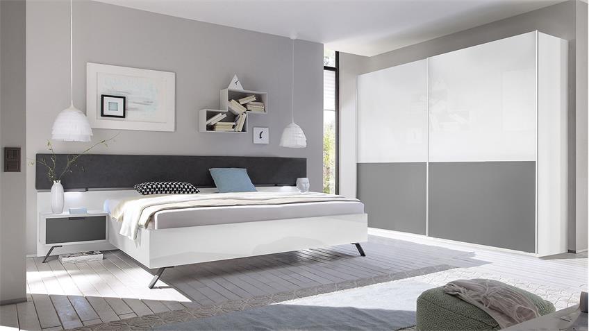 Schlafzimmer Set 1 MATCHS in weiß Hochglanz und anthrazit matt Lack