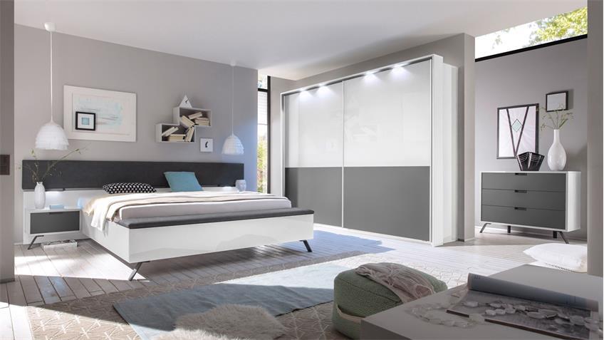 Schlafzimmer Set 2 MATCHS in weiß Hochglanz und anthrazit matt Lack