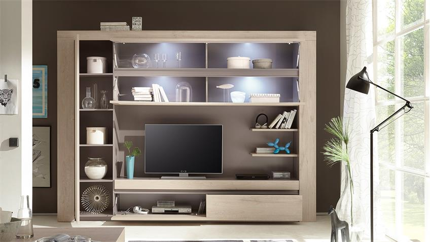 wohnwand palmira anbauwand wohnkombi in eiche hell und beige matt. Black Bedroom Furniture Sets. Home Design Ideas