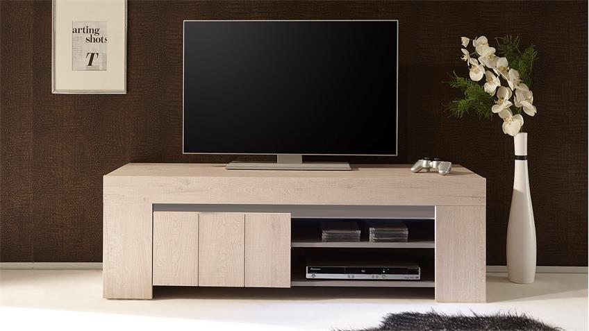 TV-Board PALMIRA Lowboard Unterschrank Eiche hell und beige matt 140