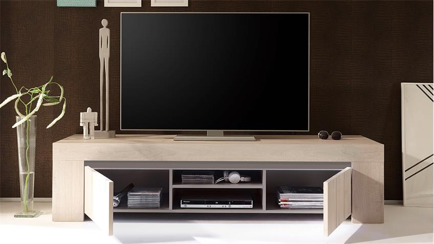tv board palmira lowboard unterschrank eiche hell und beige matt 191. Black Bedroom Furniture Sets. Home Design Ideas