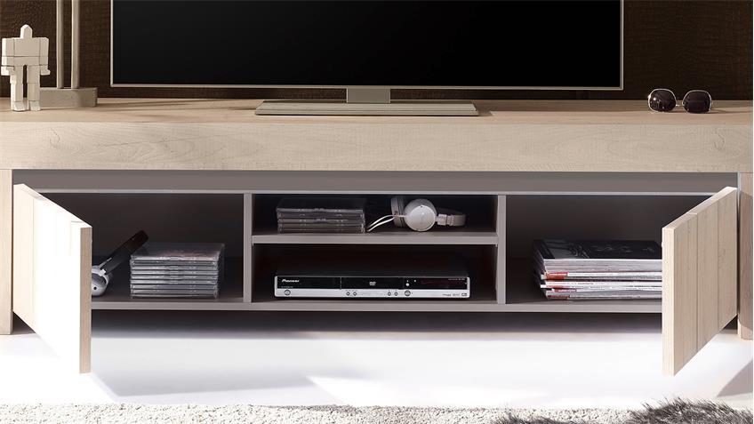 TV-Board PALMIRA Lowboard Unterschrank Eiche hell und beige matt 191