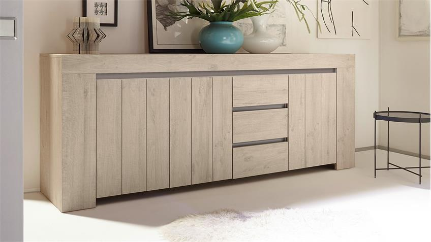 sideboard palmira kommode anrichte in eiche hell und beige. Black Bedroom Furniture Sets. Home Design Ideas