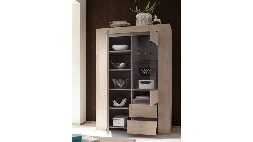 vitrine palmira highboard schrank in eiche hell und beige matt. Black Bedroom Furniture Sets. Home Design Ideas