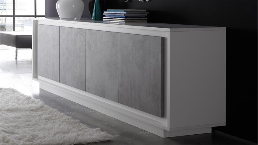 sideboard sky kommode in wei matt und beton mit softclose. Black Bedroom Furniture Sets. Home Design Ideas