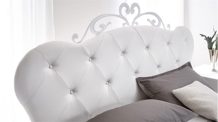 Polsterbett LIVEA Bett 180x200 weiß Lederlook und Melamin Siebdruck