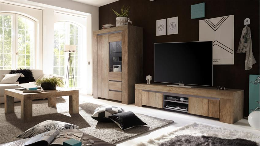 wohnwand palmira anbauwand in canyon oak beige matt softclose 2 teilig. Black Bedroom Furniture Sets. Home Design Ideas