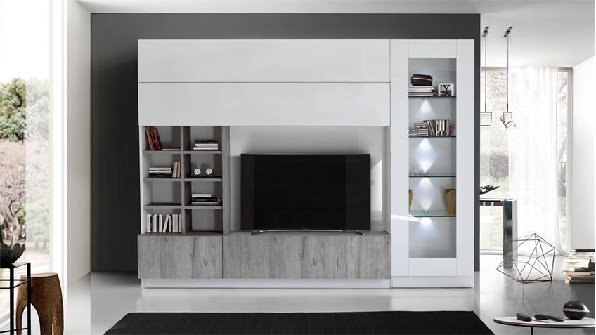 Wohnwand Line Compact 11 weiß lackiert mit Eiche grau Dekor
