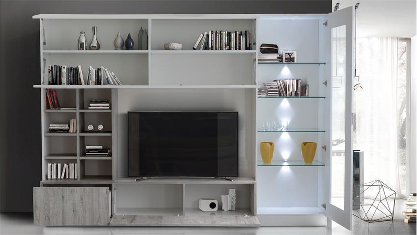 Wohnwand line compact 11 wei lackiert mit eiche grau dekor for Wohnwand eiche grau