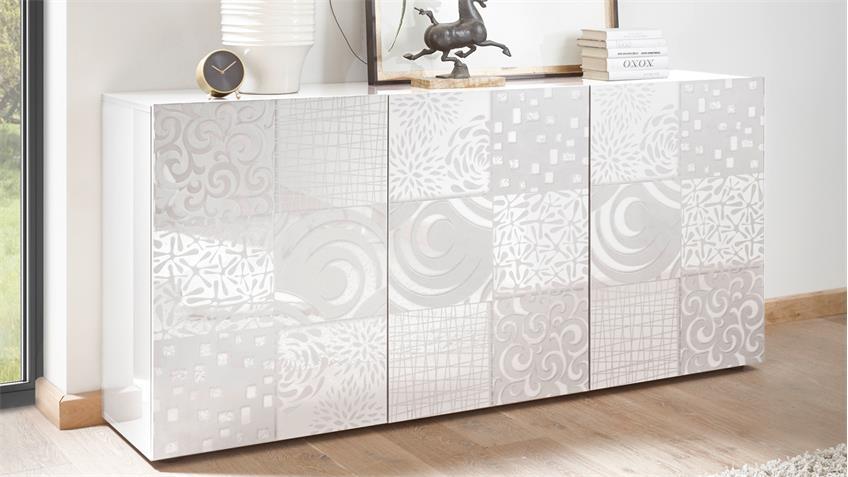 Sideboard Miros 5 Kommode in weiß Lack 3-türig mit Siebdruck