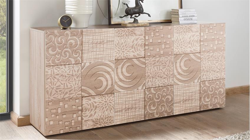 Sideboard Miros 5 in Eiche Sonoma Dekor 3-türig mit Siebdruck