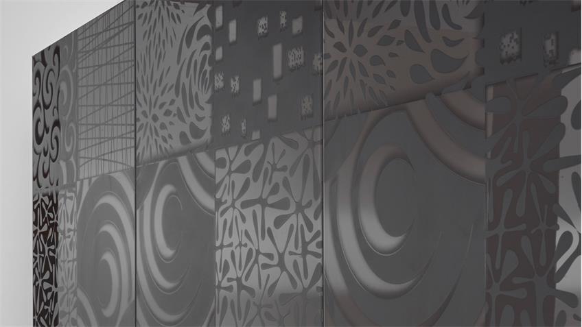 Sideboard Miros 8 Anrichte anthrazit Lack mit Siebdruck 241 cm