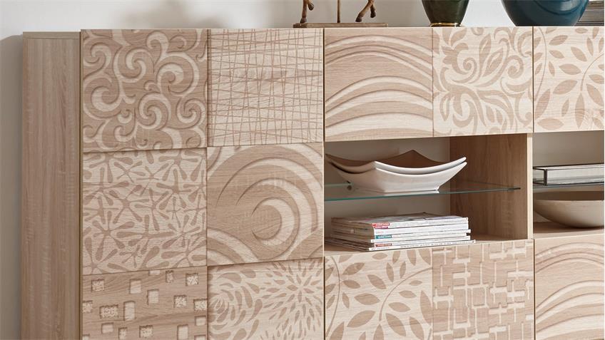 Sideboard Miros 8 in Eiche Sonoma Dekor Front mit Siebdruck