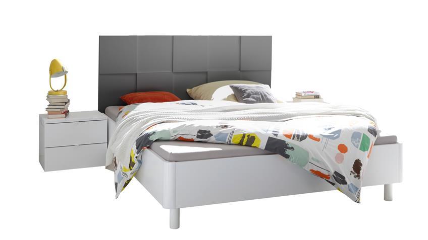 Schlafzimmer Set Ottica weiß anthrazit Lack mit 3D Optik 160