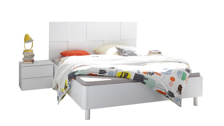Schlafzimmer Set Ottica matt weiß Lack mit 3D Optik 180x200