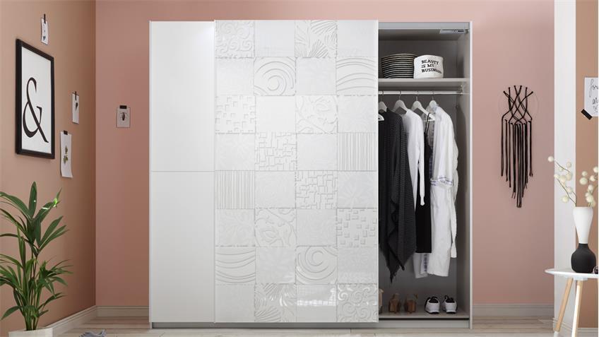 Schwebetürenschrank Xaos matt weiß lackiert mit Siebdruck