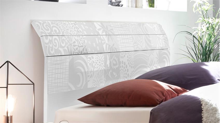 Bett Xaos 180x200 matt weiß Lack und Kopfteil mit Siebdruck