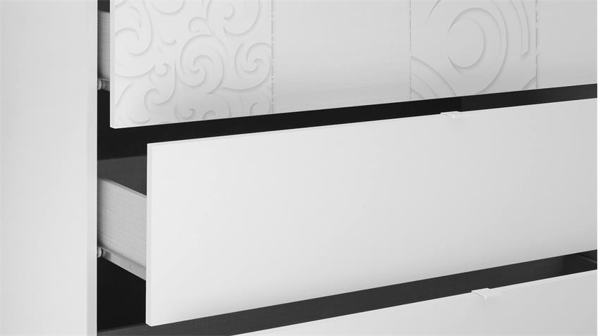 Kommode Xaos mit weiß Mattlack 3 Schubkästen 104 cm breit