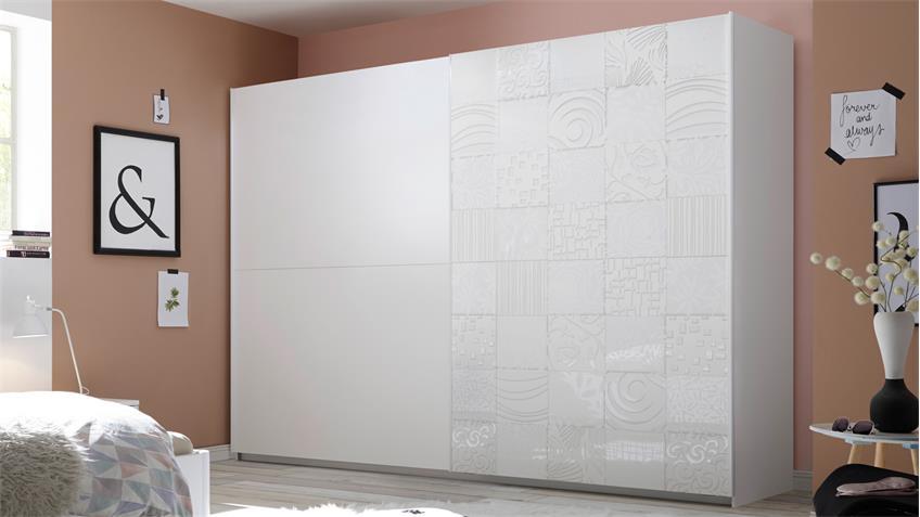 Schlafzimmer Xaos Set 38 matt weiß Lack mit Siebdruck 4-teilig