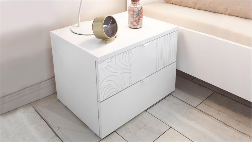 Schlafzimmer Xaos Set 18 matt weiß lackiert mit Siebdruck 4-tlg