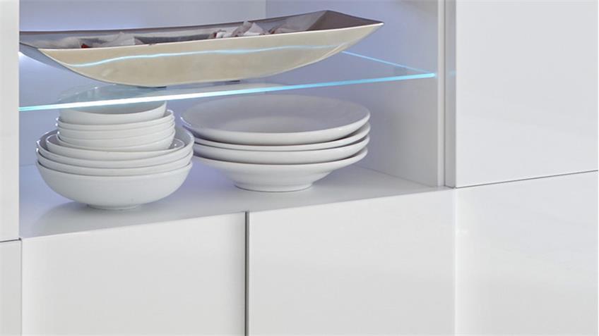 Lowboard Dama 2 weiß lackiert Hochglanz 3D Optik