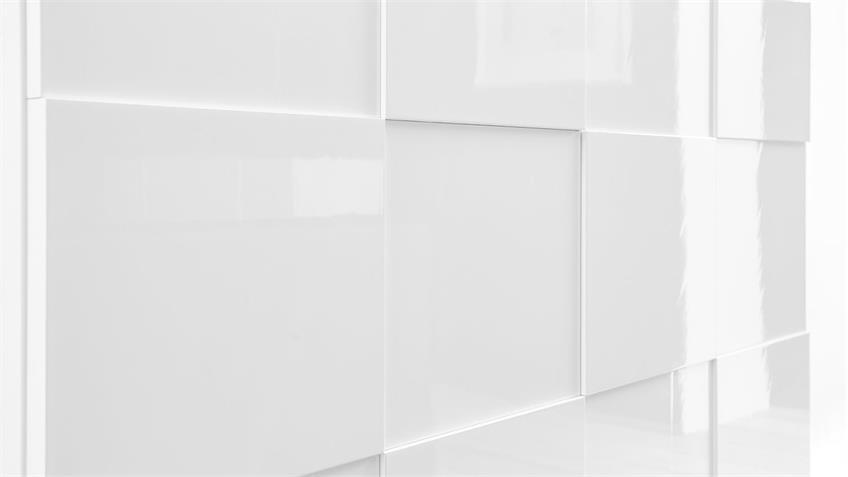 Highboard DAMA Hochglanz weiß lackiert 3D-Look