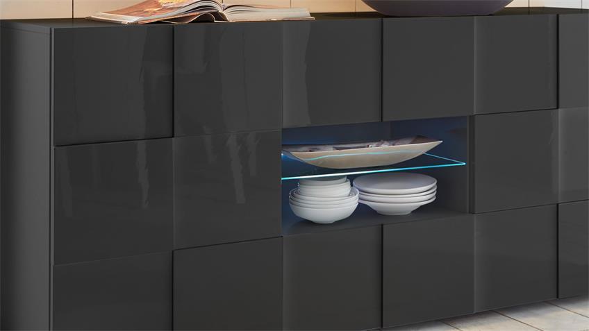 Sideboard DAMA 2 in anthrazit Hochglanz lackiert 181 cm
