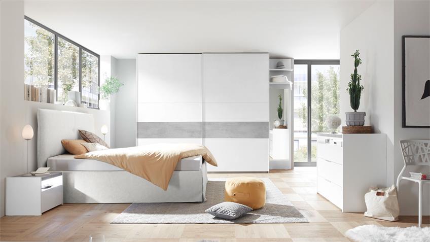 Schwebetürenschrank AMALTI weiß matt Lack Beton 275x218