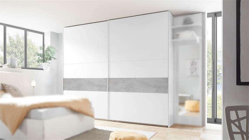 Schlafzimmer AMALTI Bett Schrank in weiß matt Lack Beton