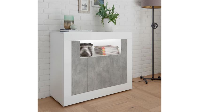 Sideboard URBINO Kommode in weiß Lack und Beton 110x86