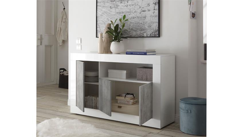 Sideboard URBINO Kommode in weiß Lack und Beton 138x86