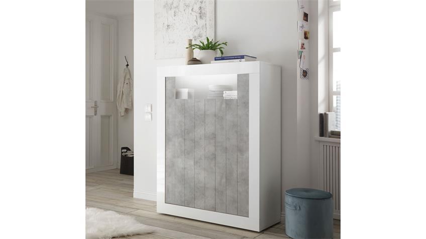 Highboard URBINO Schrank in weiß Lack und Beton 110x144