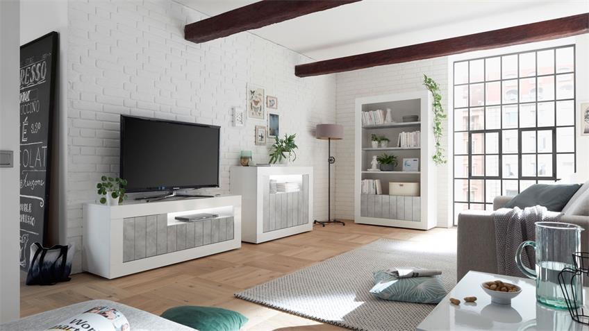 Regal URBINO Bücherregal Standregal weiß Lack und Beton