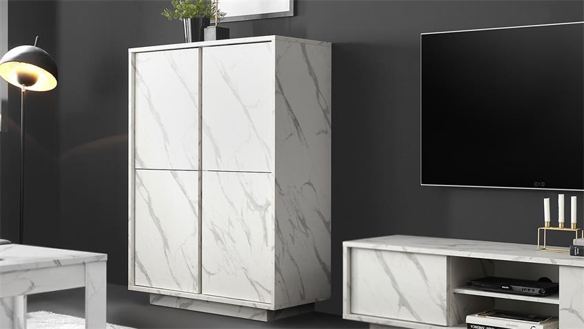 Highboard ICE Marmor-Optik weiß Wohnzimmerschrank 4-trg.
