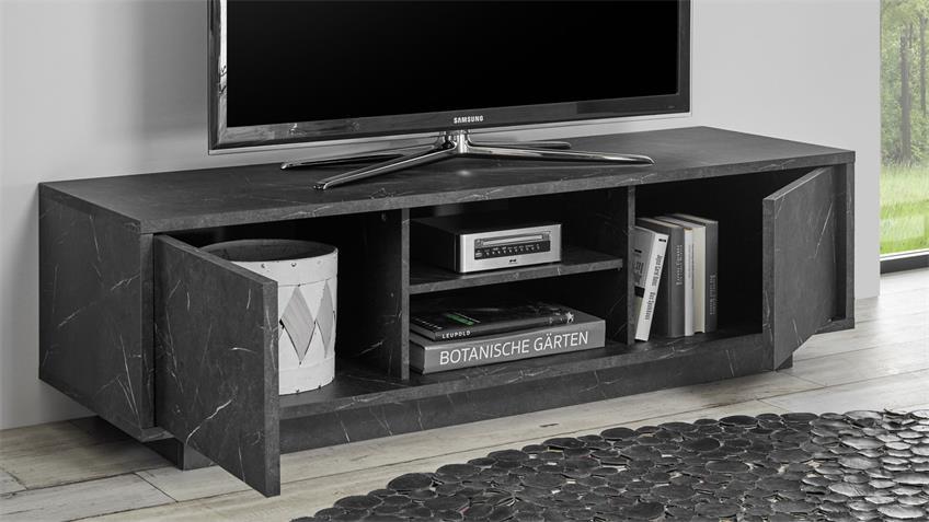 Lowboard CARRARA Marmor-Optik und anthrazit TV-Board
