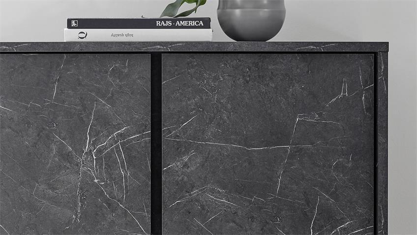 Wohnwand ICE Marmor anthrazit 3-tlg. TV Board Highboard Sideboard