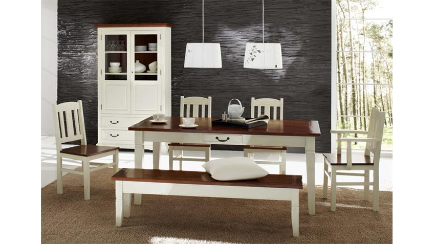 Stuhl SIENA Landhaus Esszimmer in Akazie teilmassiv weiß
