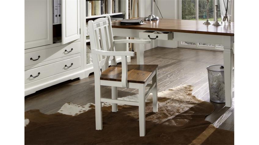 Stuhl mit Armlehnen SIENA Landhaus Akazie antikweiß