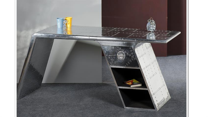 Schreibtisch AIRMAN mit Aluminium beschlagen