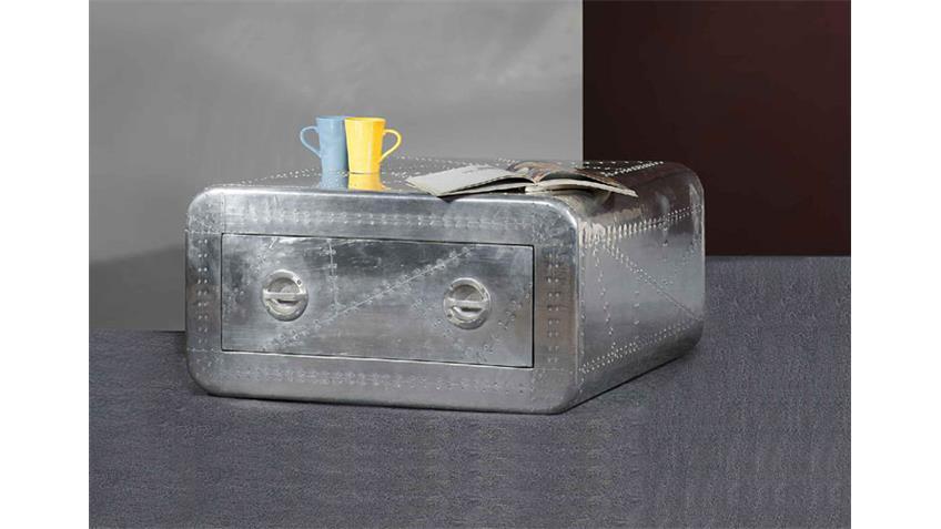 Couchtisch AIRMAN mit Aluminium beschlagen