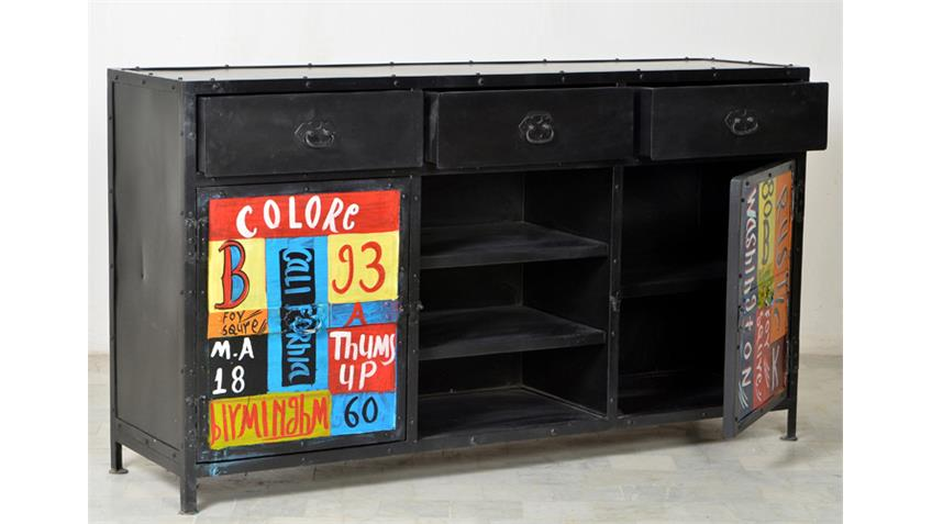 Sideboard COLORE Metall handbemalt Vintage Look