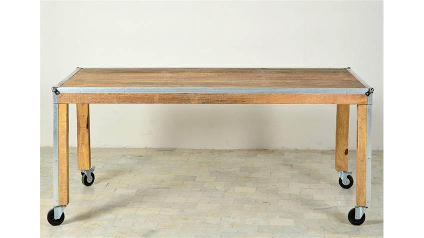 Esstisch 180 x 90 cm ROADIES Massivholz Mango Aluprofil