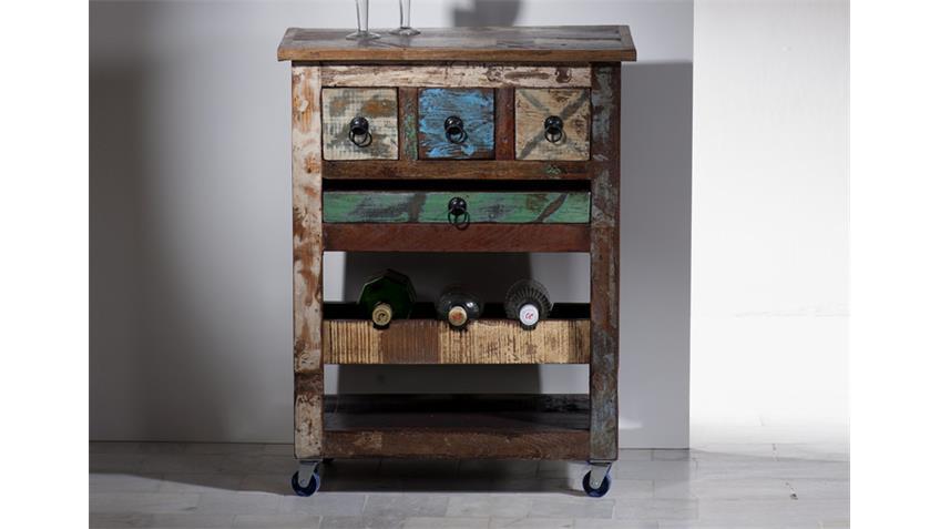 Küchenwagen RIVERBOAT echtes Altholz auf Rollen